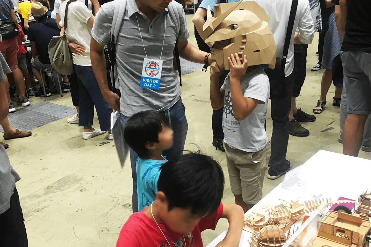 Maker Faireでガンダムヘルメットを展示